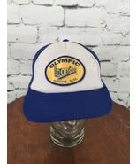 Olympic Bandag Trucker Hat Cap Blue Mesh Snapback Vintage Distressed - $19.79