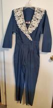 Vintage Fads Women's Chambray Denim Jumpsuit w/White Lace Collar Size 5/6 - $17.99
