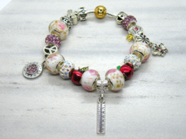 Teacher Themed European Murano Beaded Bracelet. Gift bag included - $19.95
