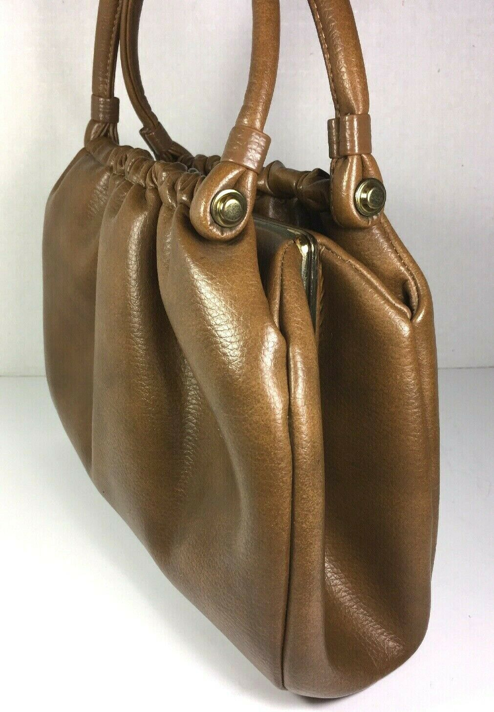 Garay True Vintage Brown Faux Leather Multi Compartment Handbag