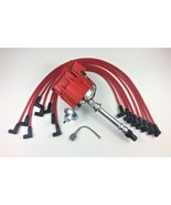 SBC CHEVY 350 SUPER HEI Distributor + RED 8mm SPARK PLUG WIRES OVER VALV... - $89.99