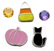 Halloween Floating Charms Pink Pumpkin Black Cat Candy Corn Purple Orange Gems - $7.42