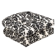 Pillow Perfect Indoor/Outdoor Black/Beige Damask Wicker Seat Cushions, 1... - £30.76 GBP
