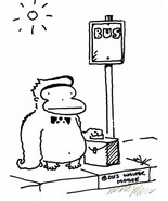 Briefcase Ape at Bus Stop. Original Signed Cartoon by Walter Moore 04F13 - $9.07