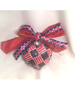 Patriotic Red White Blue Stars Stripes Flag Decoupage Fabric Glass Heart... - $9.99