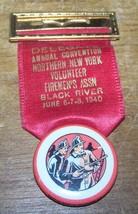 1940 VINTAGE BLACK RIVER NY  FIREMAN CONVENTION MEDAL BADGE - $17.81
