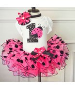 Baby Girl Pink One year old  Birthday TuTu skirt set Lady bug Three Piec... - $39.99