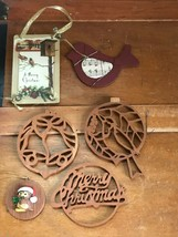 Estate Lot of Cut-Out Wood Blue Jay Bells Merry Christmas Vintage Postca... - $12.58