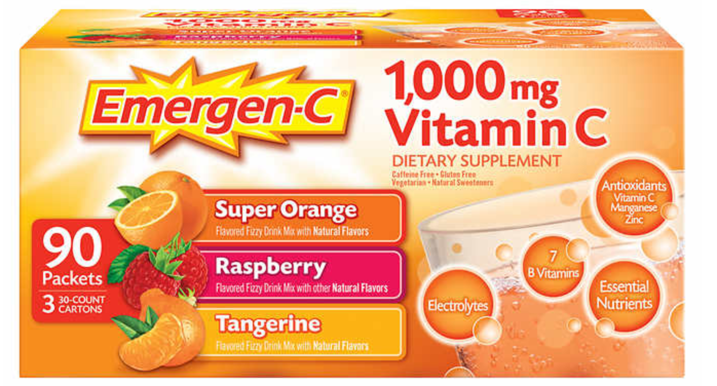 Primary image for 90 ct Emergen-C Vitamin C 1000mg D & Zinc Immune Supp Tangerine Orange Raspberry