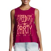 Arizona Americana Fringe Beet Red Freedom Tank Top Juniors Size L, XL New   - $9.99