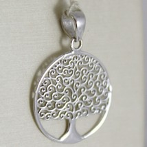 18K WHITE GOLD TREE OF LIFE ROUND FLAT PENDANT CHARM, 0.9 INCHES MADE IN ITALY  image 1