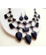 Black Rhinestone Antiqued Gold Tone Gothic Victorian Necklace & Earrings... - $13.99