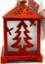 Merry Brite   Metal Lantern   Barn Red w/ Christmas Tree   Battery Power... - $11.87