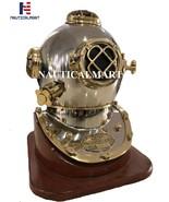 "NauticalMart 18"" Brass Scuba Diving Divers Helmet US Navy Mark V with Wooden Bas - $329.00"
