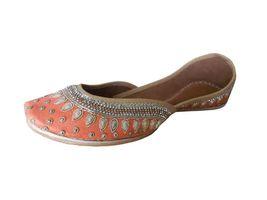 Handmade 5 Wedding Shoes 5 Indian Women Flat 9 Juti Mojari Punjabi Leather US 0YvCEqw