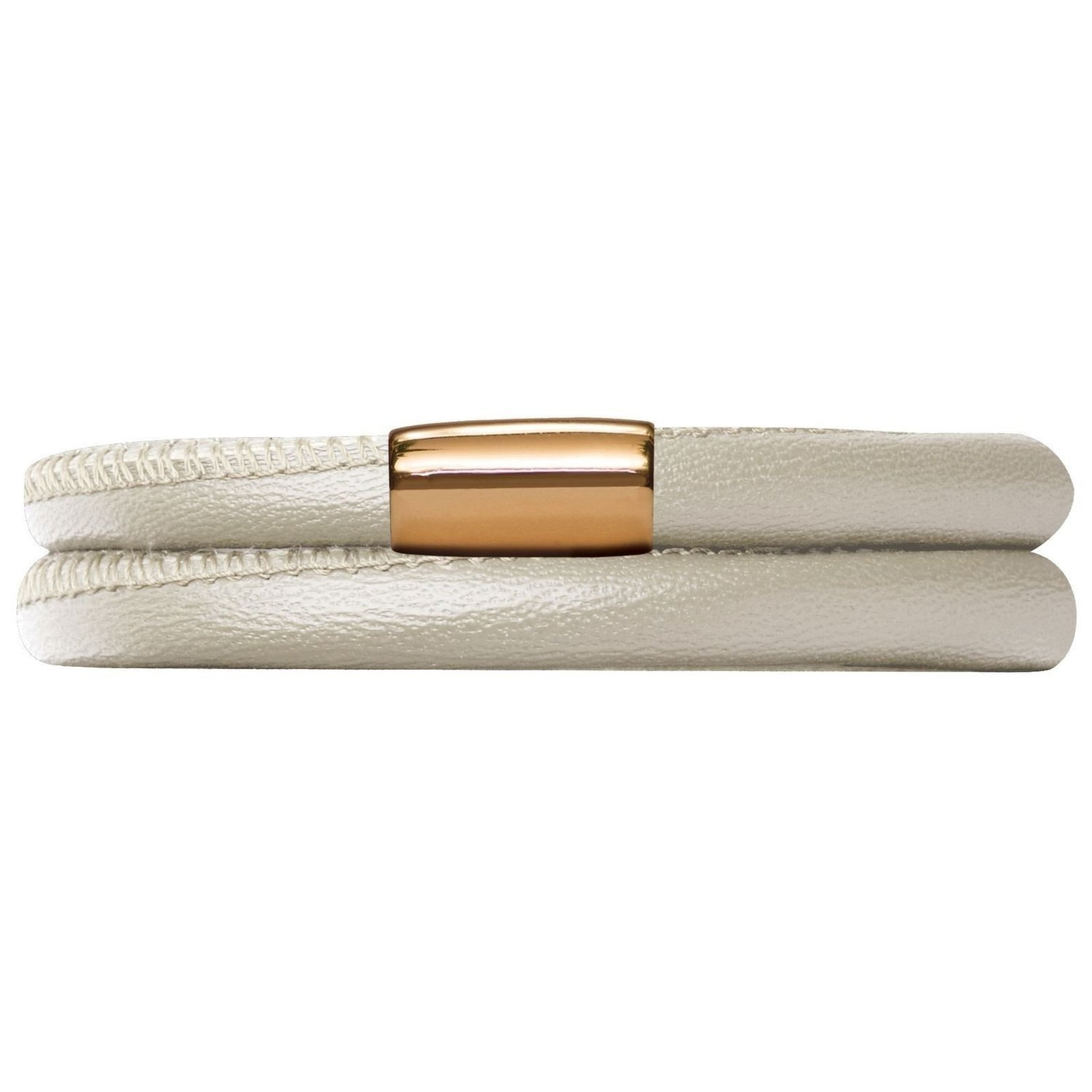 Jennifer Lopez Genuine Leather Bracelet in Creme Metallic Double with Gold Plate