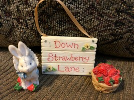 "Cherished Teddies 1995 ""Down Strawberry Lane"" Set of 3 pieces - $11.98"