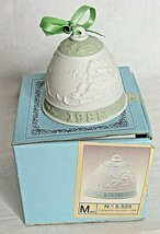 Lladro Bell Ornament Santa Reindeer 1988 Ceramic Green Spain Vintage - $24.75