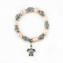 Pink Pearl With Turtle Stretch Bracelet - $27.10