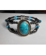 Woman's Magnetic Hematite Bracelet With Turquoise Stone WBOS04 - $45.00