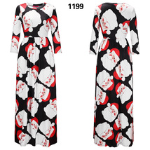 Women Fashion Long Dress 3/4 Sleevee Christmas Patterned Casual Dress Ma... - $32.99