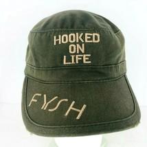 Hooked On Life Fysh Eyewear Hat Cap Green Distressed Military Style Adju... - $24.74