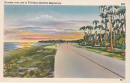Sunrise Over Florida FL Highway Postcard Linen Colourpicture - $3.34