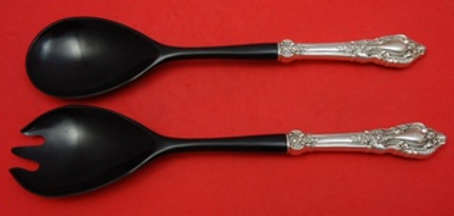 Primary image for Eloquence by Lunt Sterling Silver Salad Serving Set HH with Ebony 2-Piece 11""