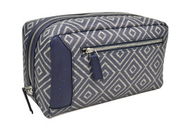 Salvatore Ferragamo Blue Geometric Print Canvas Rectangle Kit Zip Bag Purse - $326.00 CAD