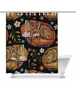 InterestPrint Red Fox Sleeping in Flowers Hippie Animal House Decor Show... - $30.68