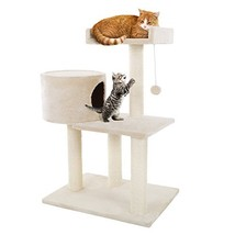 3 Tier Cat Tree- Plush Multi Level Cat Tower with Scratching Posts, Perc... - £48.52 GBP