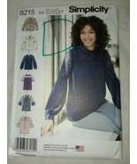 New Uncut Simplicity Pattern 8215 Misses Size 4 to 12 Blouse with Variat... - $6.99