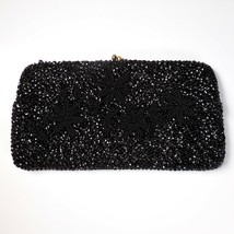 VTG Black Seed Bead Sequin Evening Bag Beaded Floral Clutch Chain Formal - $47.50