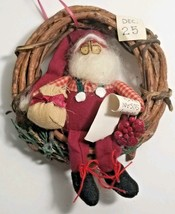Vintage Small Fabric Santa Claus Sitting In Mini Christmas Vine Wreath O... - $14.50