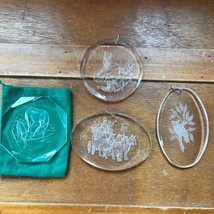 Estate Lot of Reverse Carved Clear Plastic Acrylic DEER Partridge in Pea... - $13.99