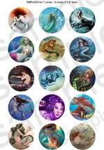 "15 Precut 1"" Vintage Mermaid Fantasy Scrapbooking Crafts Images Cake Top... - $2.99"