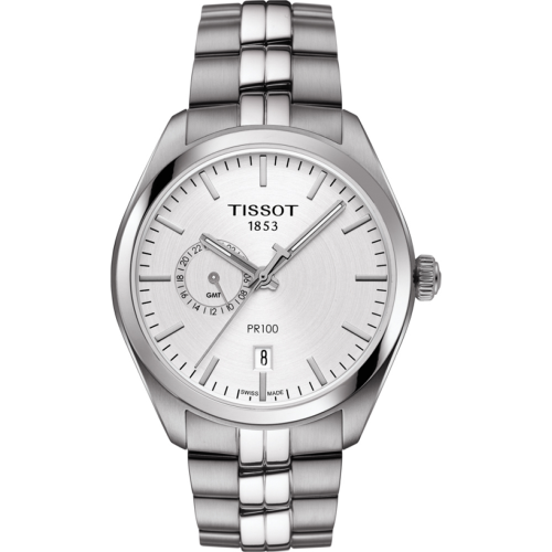 NEW Tissot T-CLASSIC PR100 DUAL TIME WATCH Silver Dial    T101.452.11.031.00