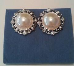 Avon 2002 Elegant Pearlesque And Rhinestone Button Earrings Pierced - $10.88