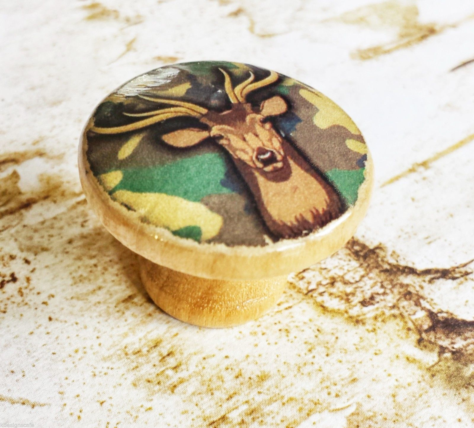 "Handmade Deer Camo Birch Wood Knob Drawer Pull, 1.25"" Birch Wood Knob"