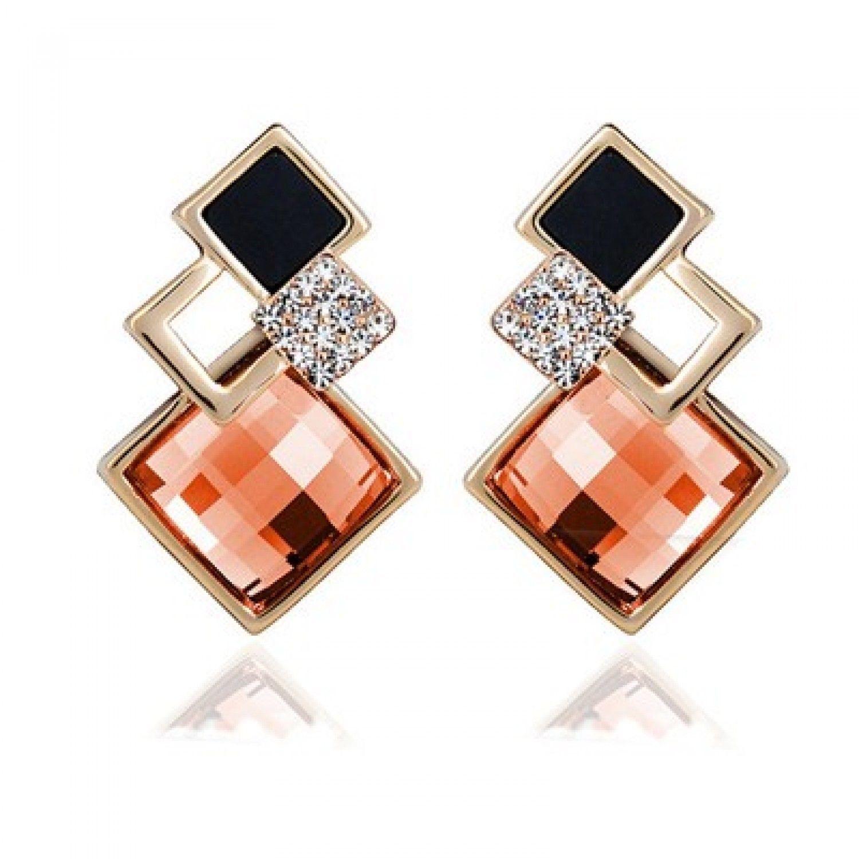 New Popular Crystal Earrings Fashion Geometric Rhinestone Gemstone Studs 2018 image 9