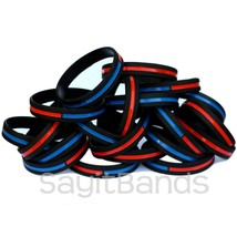 Set of Thin COMBINED Thin Red and Blue Line Police Fire Wristband Bracel... - $5.82+