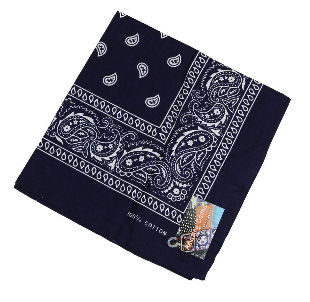 NEW MEN'S 12 PACK COTTON PAISLEY HEAD WRAP SCARF WRISTBAND BANDANA NAVY BLUE