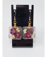 Handmade Glass Rectangle Earrings with Burgundy Flower - New - $18.99