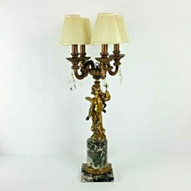 "Vintage Cherub Candelabra Brass Marble 4 Arm Electric Table Lamp Shades 30"" - $242.55"