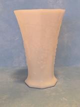 Vintage Milk Glass Harvest Grape 8 Sided Vase Mint - $8.86