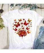 Butterfly Leaves Autumn Tshirt Women White - $20.00+