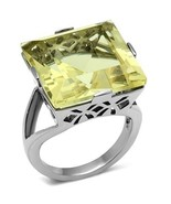 Square Cut Canary Yellow CZ Ring Stainless Steel TK316 - $19.00