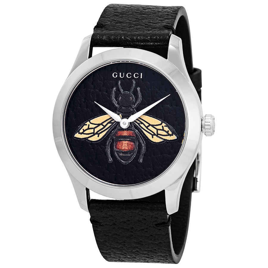 Gucci G-Timeless Black Dial with an Embroidered Honeybee Ladies Watch YA1264067