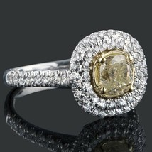 1.82 TCW Yellow Cushion Cut Diamond Halo Engagement Ring 18k White Gold - $3,236.31