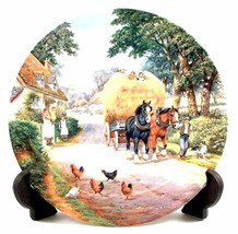 Bringing Home the Hay The Village Shires Stan Mitchell Horse Plate CP427  - $38.25